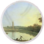 Kew Gardens - The Pagoda And Bridge Round Beach Towel