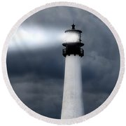 Key Biscayne Lighthouse Round Beach Towel