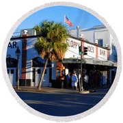Key West Bar Sloppy Joes Round Beach Towel by Susanne Van Hulst