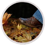 Kicking Fallen Autumn Leaves Round Beach Towel by Oleksiy Maksymenko