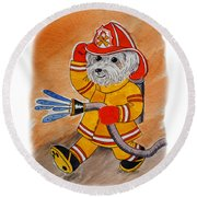 Kids Art Firedog Firefighter  Round Beach Towel