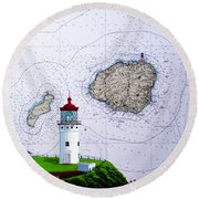 Kilauea Point Lighthouse On Noaa Chart Round Beach Towel