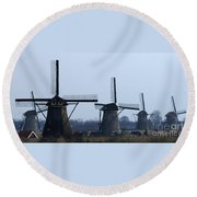 Kinderdijk Windmills 2 Round Beach Towel