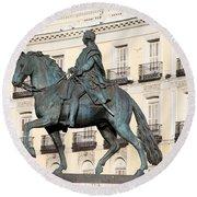 King Charles IIi Statue On Puerta Del Sol Round Beach Towel
