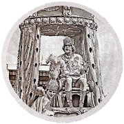 King Of Rex - Painted Bw Round Beach Towel