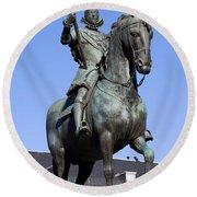 King Philip IIi Statue In Madrid Round Beach Towel