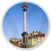 King Sigismund Column In Warsaw Round Beach Towel