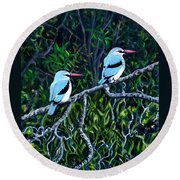 Woodland Kingfisher Round Beach Towel