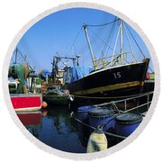 Kinsale, Co Cork, Ireland Fishing Boats Round Beach Towel
