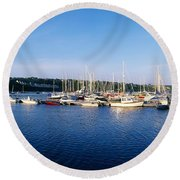 Kinsale, Co Cork, Ireland Moored Boats Round Beach Towel