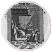 Kissing The Popes Feet Round Beach Towel