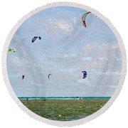 Kites Over The Bay Round Beach Towel