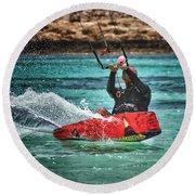 Kitesurfer Round Beach Towel by Stelios Kleanthous