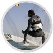 Kitesurfing Board Round Beach Towel