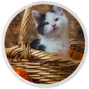 Kitten In Basket With Orange Yarn Round Beach Towel