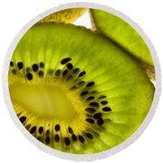 Kiwi Fruit Macro 5 Round Beach Towel