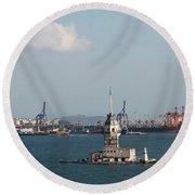 Kiz Kulesi - Leander Tower Istanbul Round Beach Towel