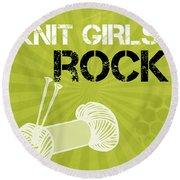 Knit Girls Rock Round Beach Towel by Linda Woods