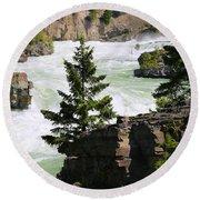 Kootenai Falls In Montana Round Beach Towel