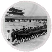 Korean Soldiers At The Old Royal Palace In Seoul - C 1904 Round Beach Towel