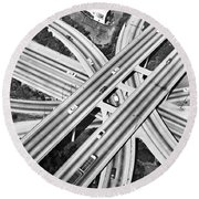 La Freeway Interchange Round Beach Towel