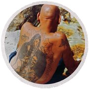 La Ink Man Round Beach Towel