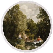 La Mare Aux Fees Round Beach Towel by Pierre Auguste Renoir