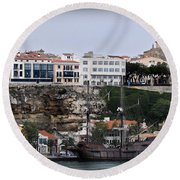 A Galleon At Bottom Of Port Mahon Menorca One Of The Largest Natural Harbours In The World Round Beach Towel