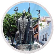 La Rogativa Sculpture Old San Juan Puerto Rico Round Beach Towel by Shawn O'Brien