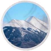 La Sal Mountains 111 Round Beach Towel
