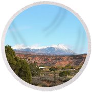 La Sal Mountains Round Beach Towel