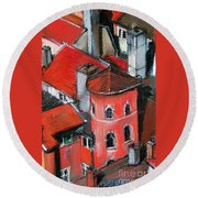 La Tour Rose In Lyon 2 Round Beach Towel