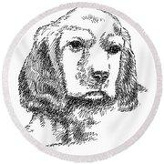 Labrador-portrait-drawing Round Beach Towel