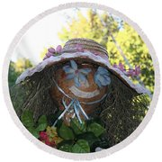 Lace And Straw Round Beach Towel