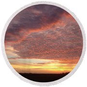 Lacy Pink Sunset Round Beach Towel