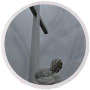 Lady And Cross Round Beach Towel