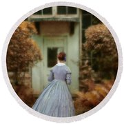 Lady In 19th Century Clothing By Conservatory Round Beach Towel
