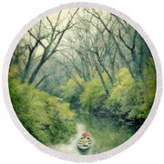 Lady In A Row Boat On A River Round Beach Towel