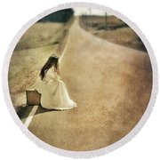 Lady In Gown Sitting By Road On Suitcase Round Beach Towel
