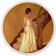 Lady In Lace Gown On Staircase Round Beach Towel