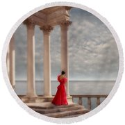 Lady In Red Gown By The Sea Round Beach Towel