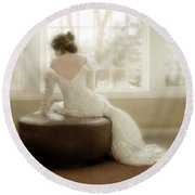 Lady In Sequin Gown Round Beach Towel