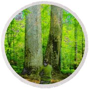 Lady In The Woods Round Beach Towel