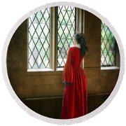 Lady In Tudor Gown Looking Out A Window Round Beach Towel