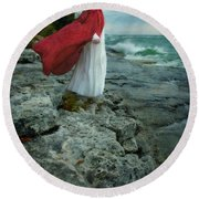Lady In Vintage Clothing By The Sea Round Beach Towel