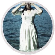 Lady In Water Round Beach Towel