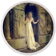 Lady In White Gown In Doorway Round Beach Towel