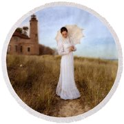 Lady In White With Parasol By The Sea Round Beach Towel