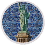 Lady Liberty Mosaic Round Beach Towel