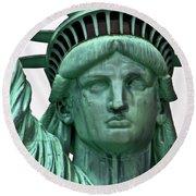 Lady Liberty Up Close Round Beach Towel